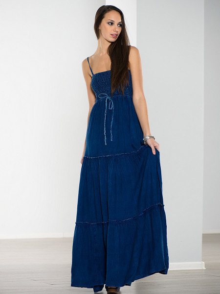 Длинный темно-синий сарафан на резинке