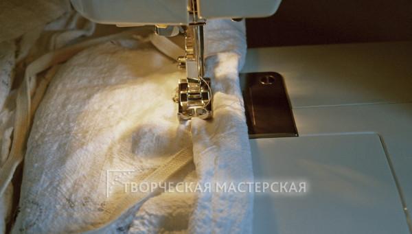Сборка ткани с кулиской и резинкой