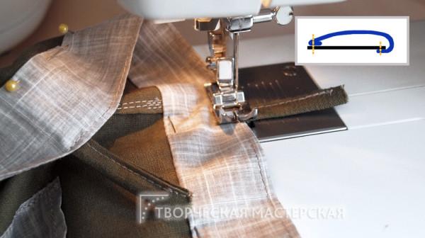 Крепление хлястиков на поясе летних брюк