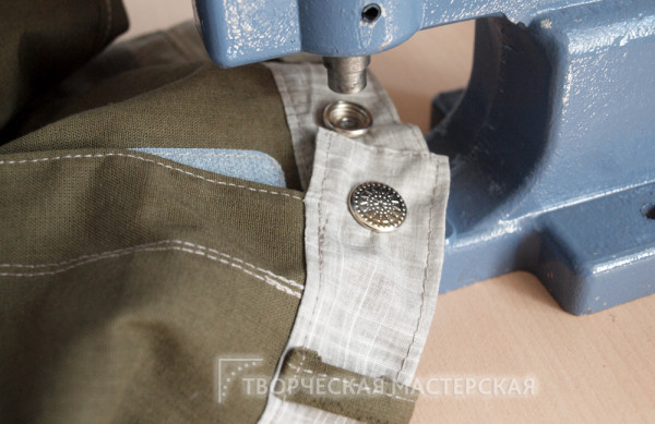 Крепление кнопки на летние брюки