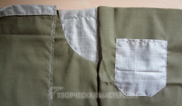 Соединение передней и задней деталей летних брюк для мальчика