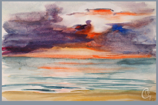 Художественный этюд закат на море