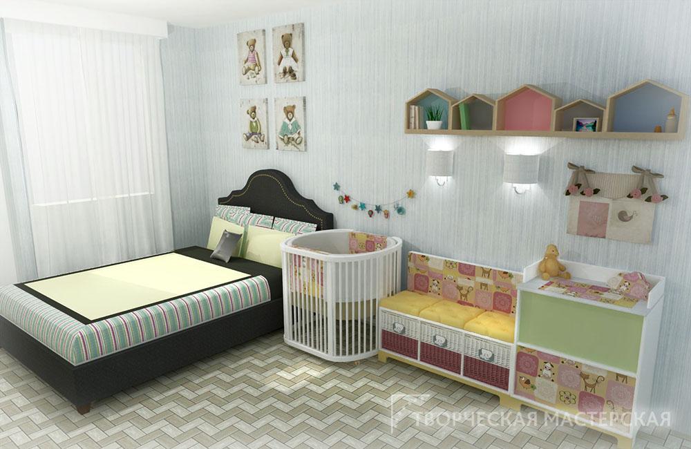 Размещение детского уголка новорожденного в комнате родителей