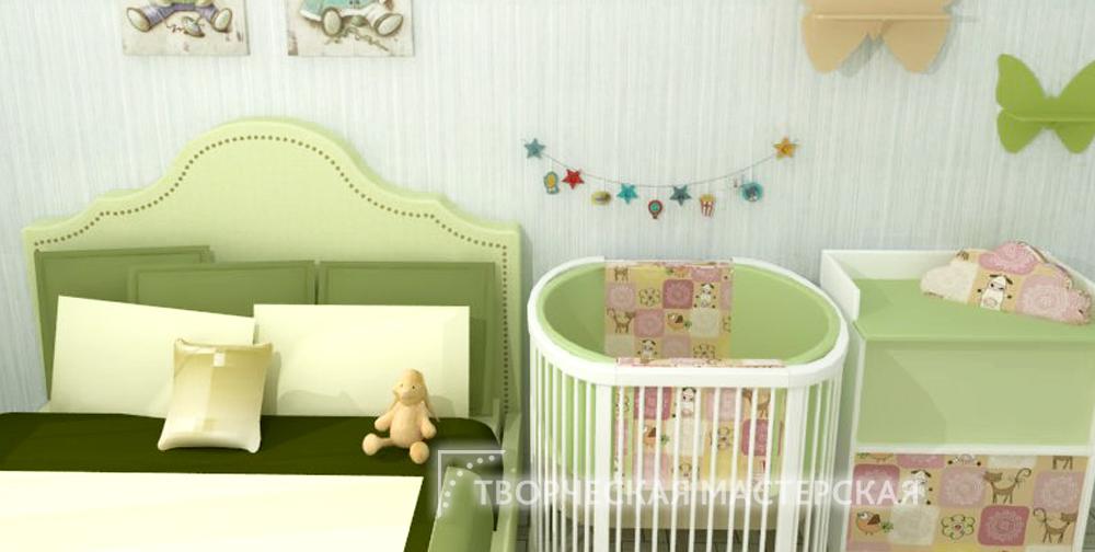 Детский уголок в комнате родителей