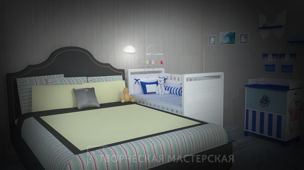 Детская кроватка рядом с спальным местом родителей